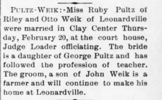 Ruby Pultz and Otto Weik Marriage