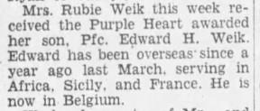 edward hugh weik purple heart wwii