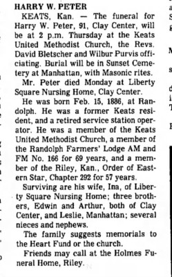 Harry William Peter Obit